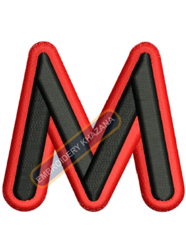 3D FOAM M WITH OUTLINE embroidery design